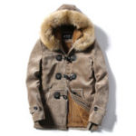 New Mens Furry Hooded Fleece Thick Warm Winter Toggle Coat Parka
