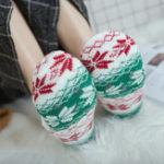 New Women Winter Plus Velvet Jacquard Anti-Slip Yoga Socks