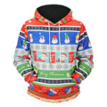 New Mens Fashion Christmas Hooded Cartoon Printing Sweatshirt