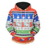 New Mens Fashion Christmas Hooded Cartoon Printing Sweatshirt