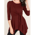 New Women Cross Solid Color Asymmetric T-Shirts