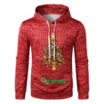 New Men's Casual Hooded Christmas Printing Sweatshirt
