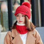 New Women Girls Winter Wool Knit Peaked Hat Beret Plus Scarf