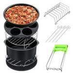 New 8Pcs 8 Inch Air Fryer Accessories Set Chips Dish Baking Pizza Pan Kitchen Toolss 5.2~5.8QT