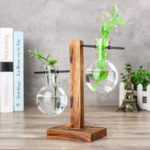 New Vintage Clear Glass Bottle Vase Hanging Flower Pot Wooden Frame Stand Terrarium Container Garden