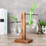 New Vintage Clear Glass Bottle Vase Hanging Flower Pot Wooden Frame Stand Terrarium Container Garden