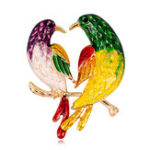 New Sweet Birds Brooches Rhinestones Colorful Oil Painting Birds