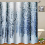 New 180x180cm Waterproof Tree Shower Curtain Digital Art Bathroom With 12Pcs Hooks Home Decor