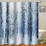 New 180x180cm Waterproof Tree Shower Curtain Digital Art Bathroom With 12Pcs Hooks Home Decor