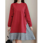 New Women Plaid Patchwork Long Sleeve Crew Neck Mini Dress