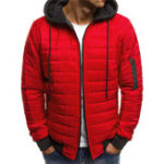 New Quilted Padded Jacket Contrast Color Hooded Winter Warm Coat