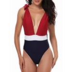 New Patchwork Backless One Piece Swimsuit