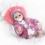 New Realistic 40cm Newborn Handmade Lifelike Newborn Baby Doll Reborn Soft Silicone Vinyl Hair Rooted Gift for Girl