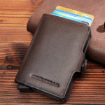 New RFID Multi-function Genuine Leather Metal Card Package
