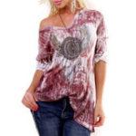 New Casual Women Gradient Print V-Neck Long Sleeve T-Shirts