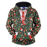 New Mens Christmas Hooded Printing Fit Overhead Sweatshirt