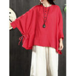 New Women Cotton Loose Solid Color Button Batwing Sleeve Blouse