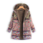 New Women Patchwork Floral Printed Hooded Long Sleeve Coats