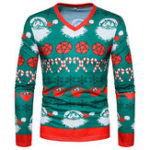 New Mens Christmas Printing V Neck Long Sleeve Casual T-shirts