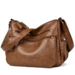 New Women Soft Faux Leather Solid Hobos Crossbody Bag