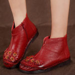New Retro Flowers Pattern Lining Ankle Short Boots