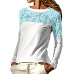 New Women Lace Patchwork Hollow Out Crew Neck Long Sleeve Blouse