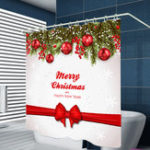 New 180cm x 180cm Waterproof Merry Christmas Polyster Bathroom Shower Curtain With 12 Hooks Accessories