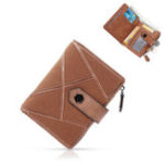 New Women Vintage Faux Leather Stitching Short Wallet