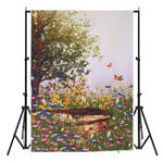 New 3x5FT Vinyl Spring Tree Butterfly Flower Photography Backdrop Background Studio Prop