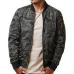 New Mens Military Camouflage Arm Zipper Pocket Plus Size Jacket