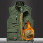 New Mens Fleece Lining Thickened Warm Multi Pockets Outdoor Vest