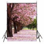 New 3x5FT Vinyl Outdoor Sakura Flower Road Spring Photography Backdrop Background Studio Prop