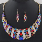 New Statement Jewelry Set Colorful Rhinestone Corkscrew Necklace