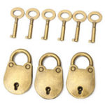 New 3Pcs Vintage Antique Mini Padlock Small Luggage Box Safe Lock With 6 Keys