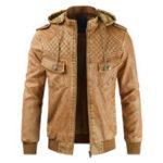 New Mens Detachable Hood Faux Leather Fleece Warm PU Jacket