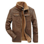 New Mens PU Faux Leather Jacket Fleece Thick Warm Shearling Coat
