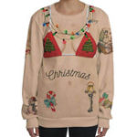 New Women Christmas Bikini Print Crew Neck Long Sleeve Sweatshirt