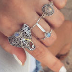 New Vintage Finger Ring Set Gemstone Cute Elephant Silver