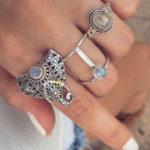 New Vintage Finger Ring Set Gemstone Cute Elephant Silver