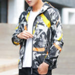 New Mens Camo Printed Casual Sport Hooded Jacket