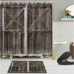 New 70.9″ x 70.9″ Rustic Wooden Barn Door Waterproof Shower Curtain Bathroom Mat
