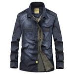 New Mens Casual Cotton Chest Pockets Plus Size Denim Shirts