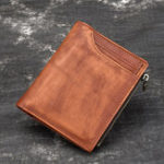 New Men Genuine Leather 7 Card Slot Short Wallet Vintage Bag