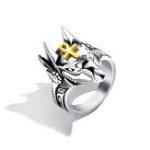New Punk Finger Ring Titanium Steel Cross Anubis Head Jewelry