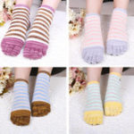 New Ladies Five Toes Socks Cotton Striped 4-Pair Set Ankle Socks