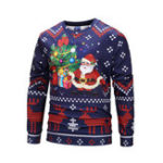 New Mens Santa Claus Printing Overhead Casual Sweatshirt
