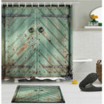 New 180cm x 180cm Rustic Wooden Barn Door Bathroom Waterproof Fabric Shower Curtain Flannel Bathroom Mat