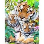 New DIY Diamond Painting Lovely 3 Tigers Cross Stitch Crystal Square Diamond Sets Needlework Crafts