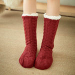 New Women Winter Thickening Warm Non-Slip Middle Tube Socks