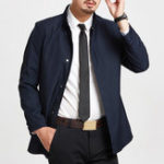 New Mens Business Windproof Stand Collar Solid Color Jacket